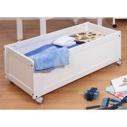 Coffre de rangement bois blanc sur roulettes L107 x P56 x H45 cm