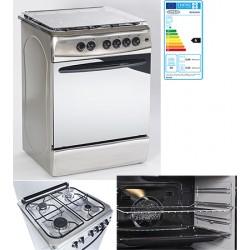 Cuisinière 4 gaz et four électrique multifonctions 60x60 cm blanc