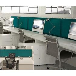 Panneau acoustique double face bureau avec 3 pinces L160 x H50 cm