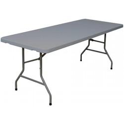 Table pliante polyéthylène Eco grise 183x76 cm