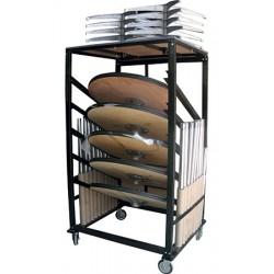 Chariot pour 10 tables ou manges debout plateau bois diam 75 cm