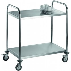 Chariot de service inox 2 tablettes charge 50 kg
