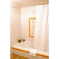 Lot de 10 rideaux de douche textile uni 100% polyester 180x200 cm rayé ton sur ton blanc
