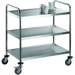 Chariot de service inox 3 tablettes charge 75 kg