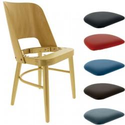 Lot de 2 chaises Colisée hêtre naturel et galette d'assise au choix