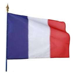 Drapeau français 115 g sur hampe en bois 100 x 150 cm