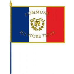 Drapeau français personnalisé sur hampe pour façade avec franges 80 x 120 cm