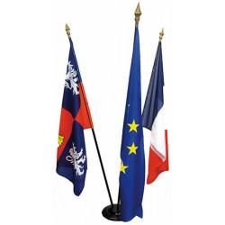 Ensemble 3 drapeaux de mairie 100 x 150 cm avec socle