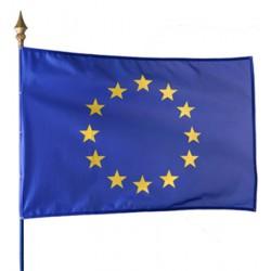 Drapeau européen 115 g sur hampe en bois 50 x 75 cm