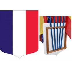 Ecusson porte-drapeaux PVC et bois tricolore 40 x 50 cm