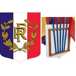 Ecusson porte-drapeaux PVC et bois tricolore RF et palmes 40 x 50 cm
