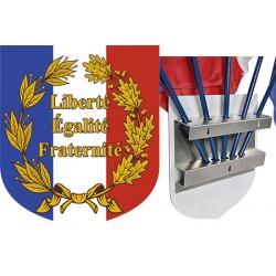 """Ecusson porte-drapeaux aluminum tricolore """"Liberté Egalité Fraternité"""" 39 x 45 cm"""