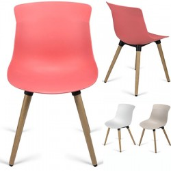 Chaise coque polypropylène M4 pieds bois Lucie
