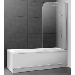 Ecran pivotant pour baignoire 73 à 75 cm verre transparent et alu poli brillant