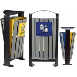 Corbeille tri sélectif acier et lames recyclées 2 x 60L