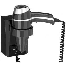 Sèche-cheveux mural JVD Clipper II 1400W noir avec prise rasoir bitension on/off