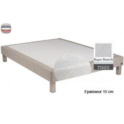 Sommier Tropique lattes passives et feutre ép 15 cm tissu stretch 100/120 x 190 cm