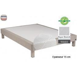 Sommier Tropique lattes passives et feutre ép 15 cm tissu stretch 140 x 200 cm anti-punaises