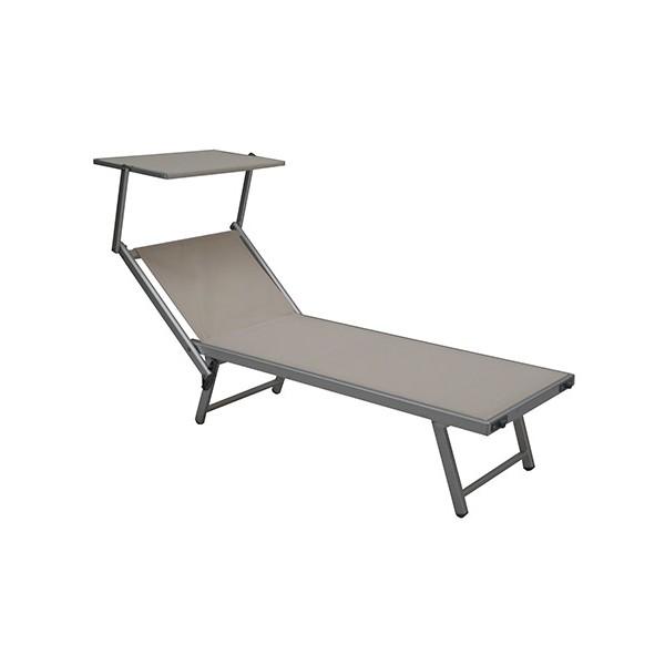 Plus adapté Bain de soleil aluminium et textilène avec pare-soleil BK-07