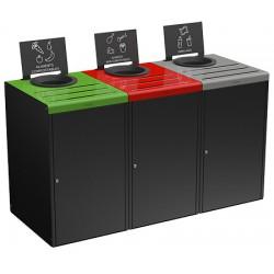 Kit meuble de tri sélectif 3 x 90 L pour restauration collective