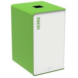 Poubelle de tri sélectif Cube 90L blanc verre sans serrure