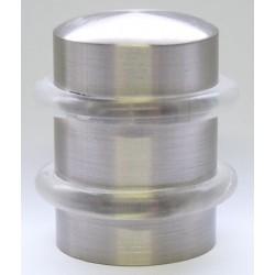 Lot de 10 butoirs de porte en zamak nickelé mat chromé Ø3x4,1 cm 2 anneaux transparents