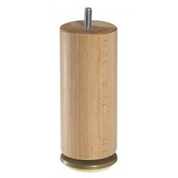 Jeu de 4 pieds bois cylindriques dômes pivotants vernis clair H20 cm