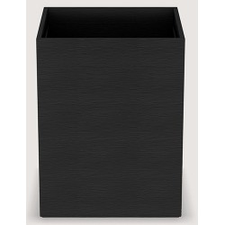 Corbeille Cube similicuir vague noir 10 L