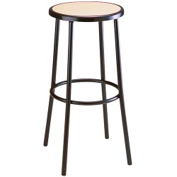 Tabouret de bar Bistro assise cannée cerclée de noir