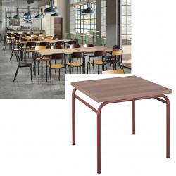 Table de restauration 4 pieds Vintage MDF stratifié 70x70 cm