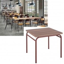 Table de restauration 4 pieds Vintage MDF stratifié 140x70 cm