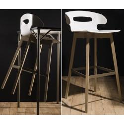 Tabouret de bar 4 pieds bois et appui sur table Evolution N°1