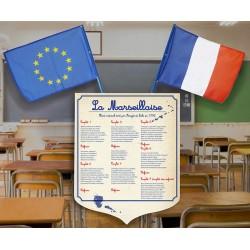 """Lot écusson PVC 40x50 cm """"Marseillaise"""" modèle 2 et 2 drapeaux 40x60 cm"""