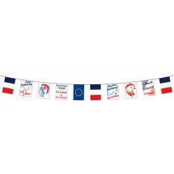 "Lot de 10 guirlandes 5 m avec 10 fanions 20x30 cm ""les symboles de la France"""