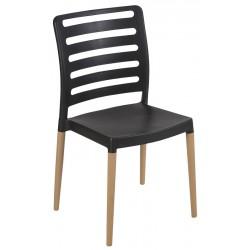 Lot de 40 chaises empilables polypropylène avec pieds bois Ibos