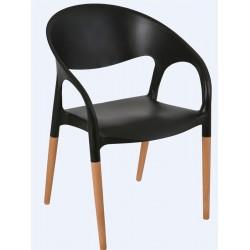 Lot de 40 fauteuils en polypropylène avec pieds en bois Lodes