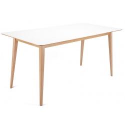 Table de réunion piètement bois plateau MDF blanc L160 x P80 cm