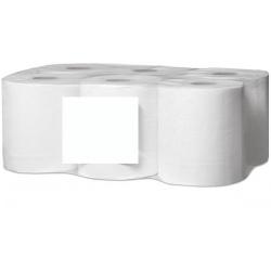 Lot de 12 essuies mains devidage central mini lisse blanc