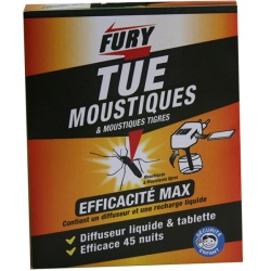 Lot de 12 boites de diffuseur électrique 45 nuits + recharge insecticide Fury