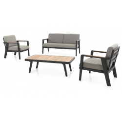 Salon complet Guadeloupe coussins jute et pieds alu charcoal : 2 fauteuils + canapé 2 places + table basse