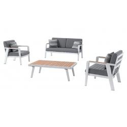 Salon complet Guadeloupe coussins gris et pieds alu blanc : 2 fauteuils + canapé 2 places + table basse