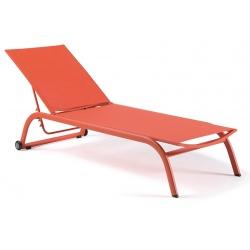 Bain de soleil empilable avec roues Zaragoza textylène orange et piètement alu orange
