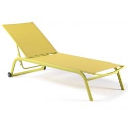 Bain de soleil empilable avec roues Zaragoza textylène citron vert et piètement alu citron vert