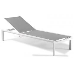 Bain de soleil avec roues Vittorio textylène gris clair et piètement alu blanc