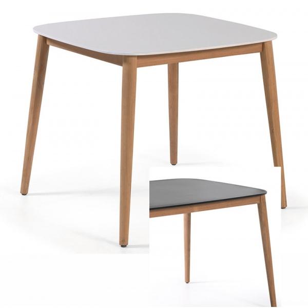 piètement Helsinki avec L90xP90xH74 et carrée plateau 5 cm Table teck duranite Kc3TFJl1