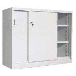Armoire monobloc basse portes coulissantes avec 2 étagères L100 x P43,5 x H 104 cm