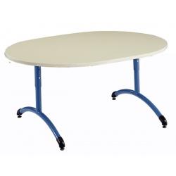 Table maternelle réglable NF T1 à T4 à dégagement latéral Loulou stratifié ovale 120x90 cm