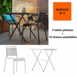 Pack Eco 4 : 5 tables pliantes bistrot 68,6 x 68,6 cm + 10 chaises empilables Excellence