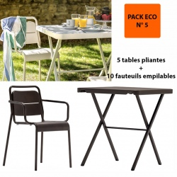 Pack Eco 5 : 5 tables pliantes bistrot 68,6 x 68,6 cm + 10 fauteuils empilables Excellence