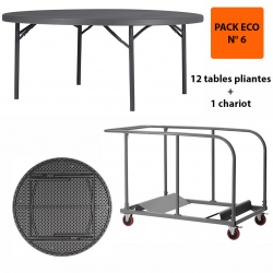 Pack Eco 6 : 12 tables pliantes Q+ ø 180,3 cm + 1 chariot
